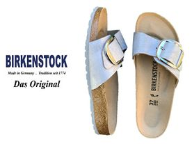 Birkenstock Madrid big buckle blue silver